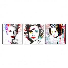 Cuadro Tríptico  mujeres Warhol