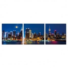 Cuadro Tríptico Noche En Manhattan