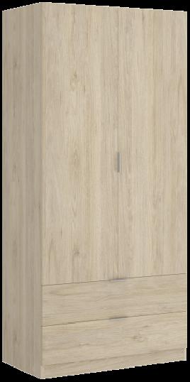 Armario modelo Essen de dos puertas y dos cajones color blanco/natural