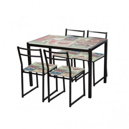Conjunto de mesa y sillas modelo Dorian
