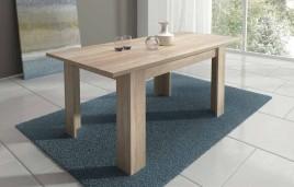 mesa comedor extensible modelo LARA de 140x90 cm. en color cambria y blanco.