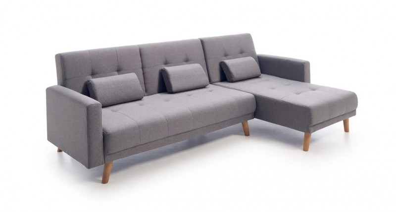 Chaiselongue cama clic clac tela gris modelo abba