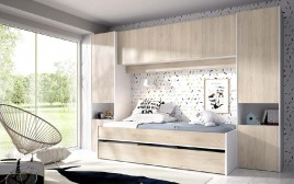 Cama nido modelo KWAI con altillo y dos armarios