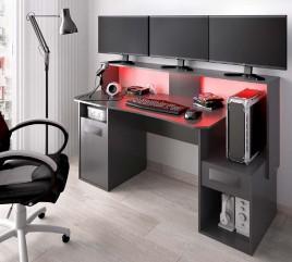 ESCRITORIO FOSK GAMING GRAFITO CON LEDS