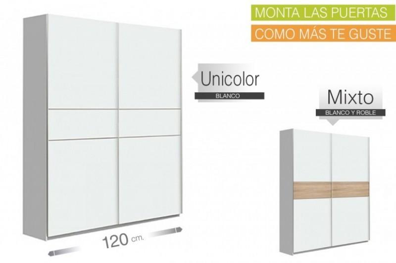 Armario de correderas WINNER 120x210 Blanco ENTREGA INMEDIATA